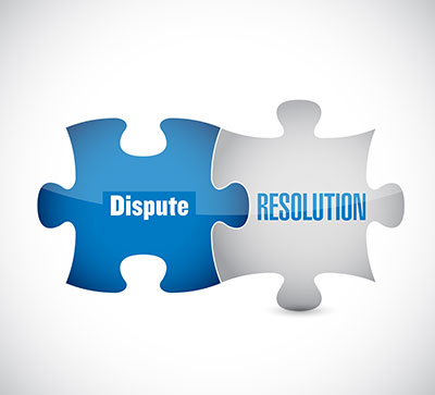 Two puzzle pieces of Dispute and Resolution