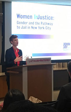 Alison Wilkey of PRI discussed the Women InJustice report findings at a New York Women's Foundation panel on March 8.