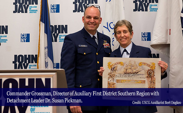 Commander Grossman, Director of Auxiliary First District Southern Region with Detachment Leader Dr. Susan Pickman