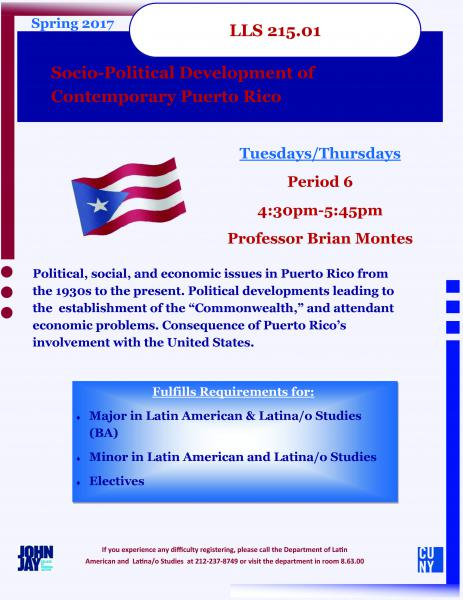 LLS 215.01 Socio-Political Development of Contemporary Puerto Rico