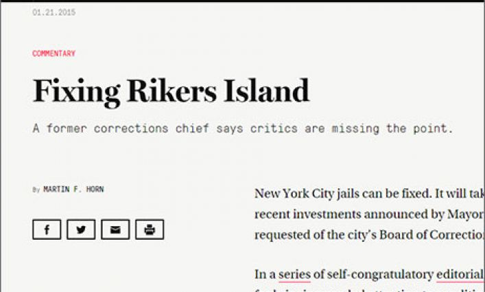 Professor Martin Horn's Op-ed on Reforming NYC Jails Published by The Marshall Project