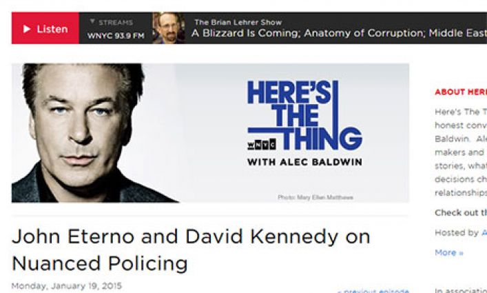 """Professor David Kennedy Discusses Group Violence Intervention on WNYC's """"Here's the Thing"""""""