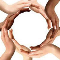 Hands of different races together