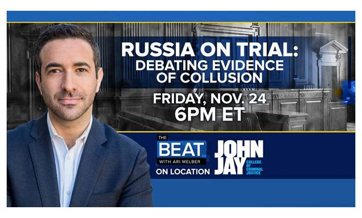 """Watch MSNBC's """"The Beat with Ari Melber"""" on Fri., Nov. 24 at 6 pm featuring John Jay students!"""