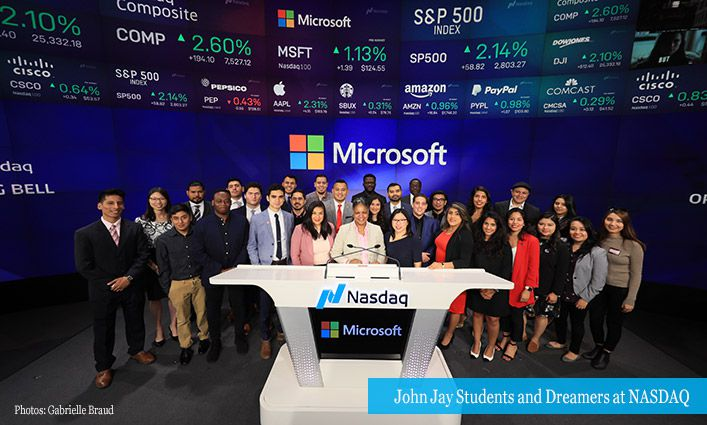 John Jay Students and Dreamers Help Ring the NASDAQ Bell